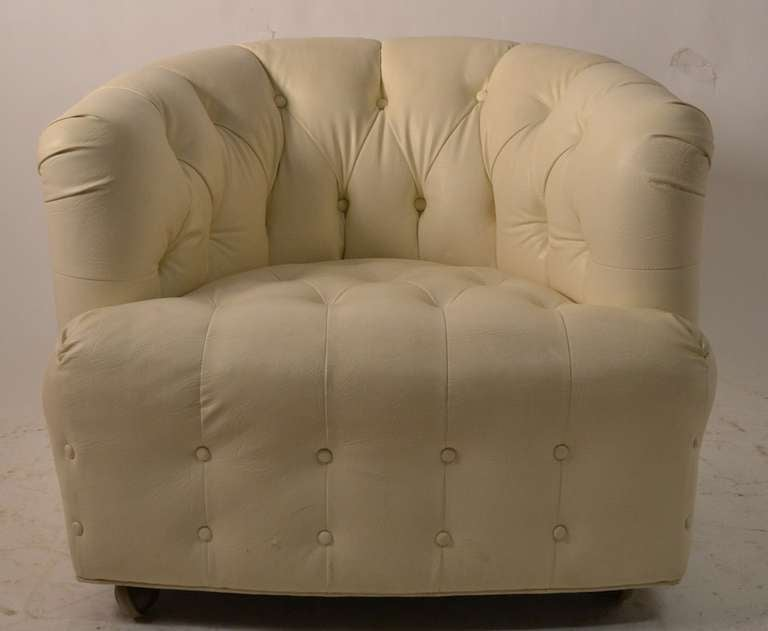 Pair White Vinyl Tub Chairs For Sale at 1stdibs