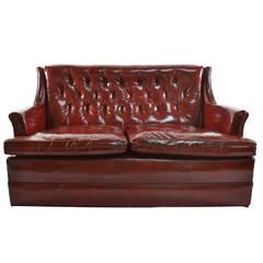 Vintage Leather Love Seat Sofa with Button Tufted Back