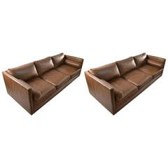 Pair Leather Box Sofas by Directional