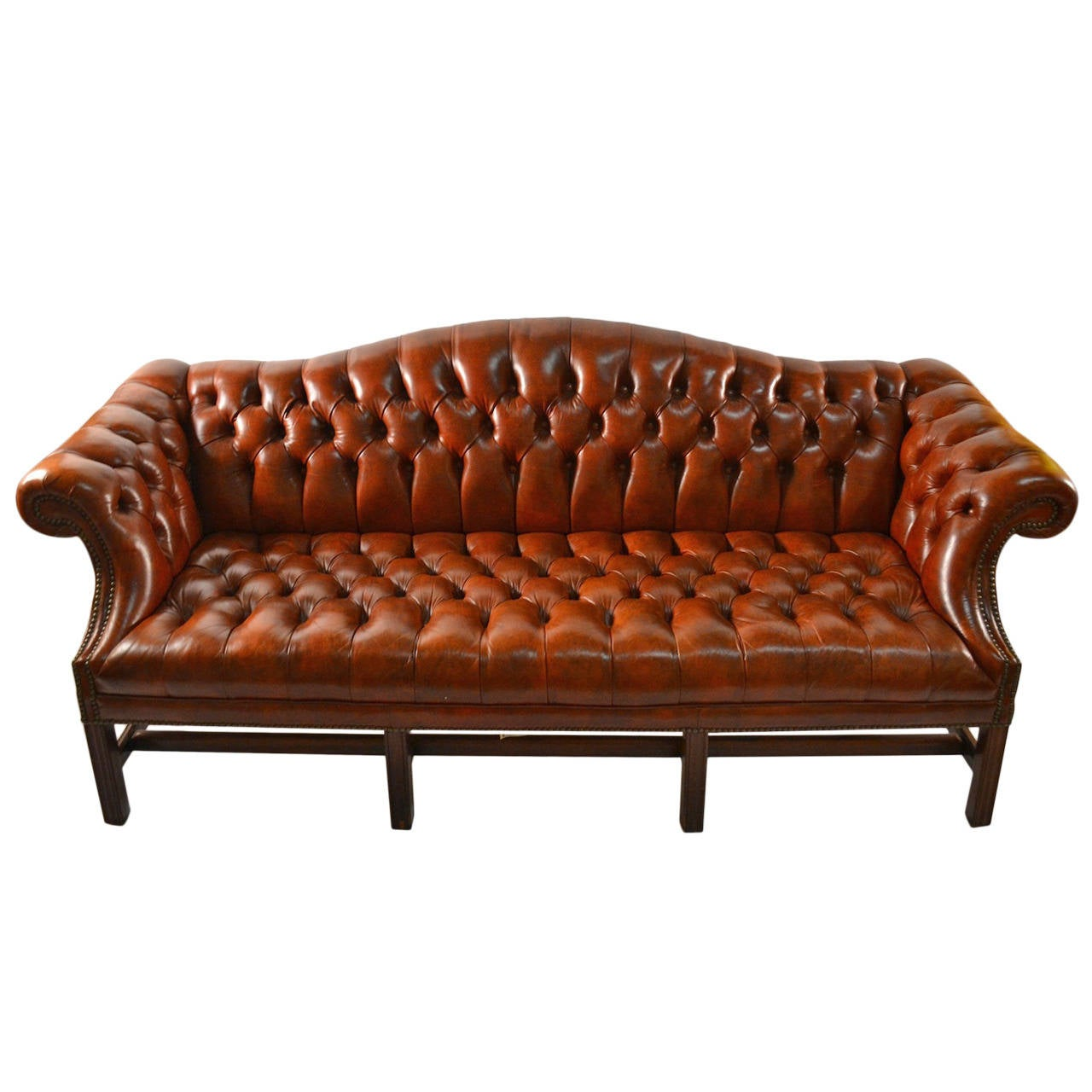 Leather Camel Back Sofa At 1stdibs