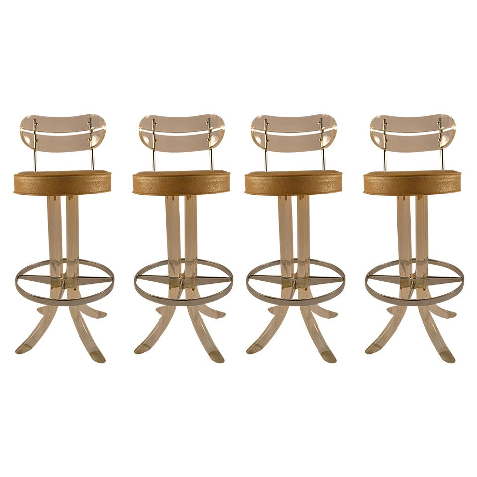 Set Of Four Lucite Swivel Bar Stools At 1stdibs