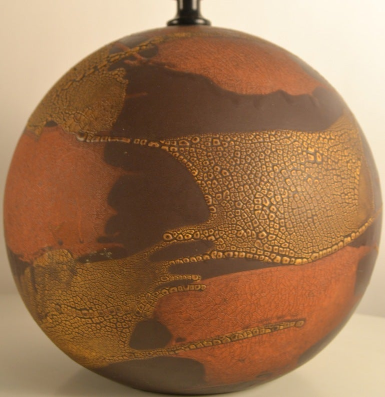 Haeger Earth Wrap Ball Form Pottery Lamp At 1stdibs