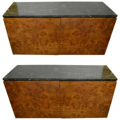 Pair Marble Top Burl Wall Mount Cabinets