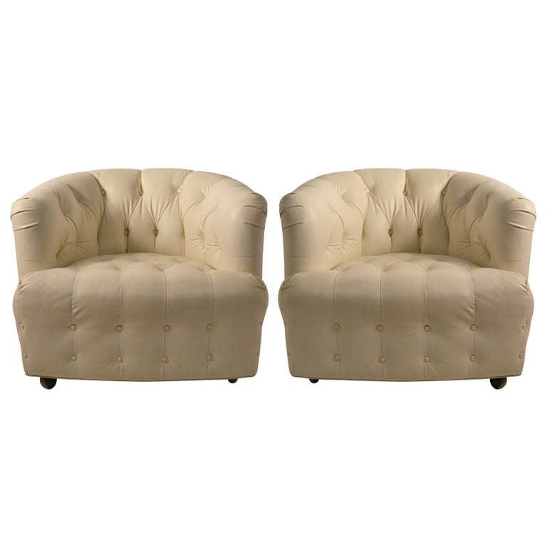 Terrific Pair White Vinyl Tub Chairs Pabps2019 Chair Design Images Pabps2019Com