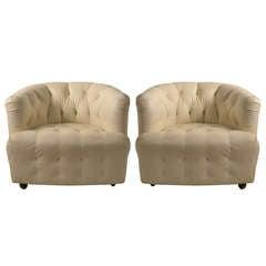 Pair White Vinyl Tub Chairs