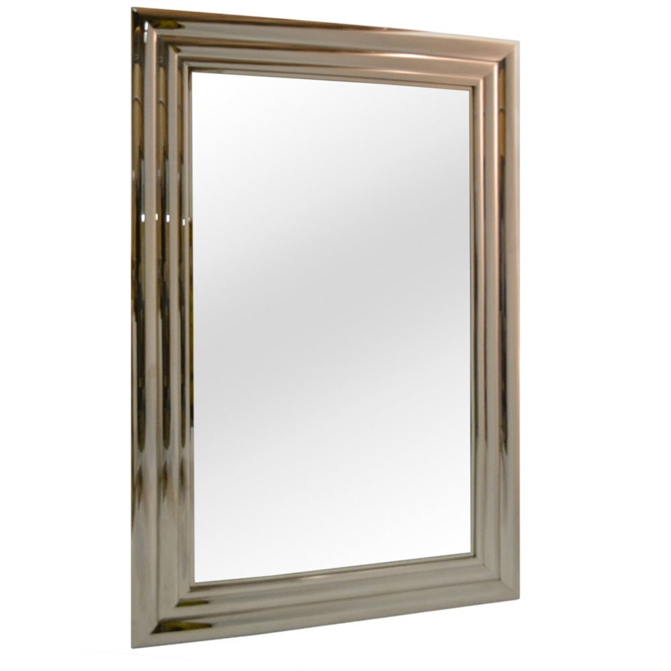 Fantastic bright polished steel frame mirror at 1stdibs for Metal frame mirror
