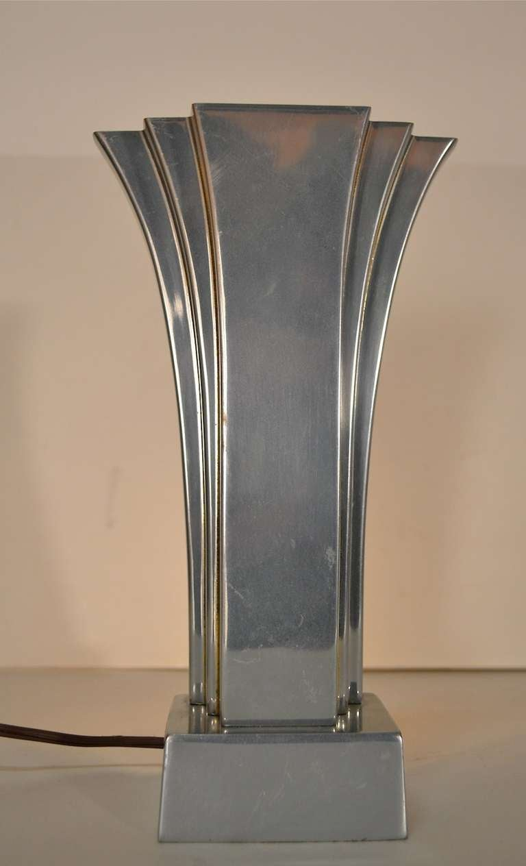pair aluminum art deco revival boudoir lamps by stiffel at 1stdibs. Black Bedroom Furniture Sets. Home Design Ideas