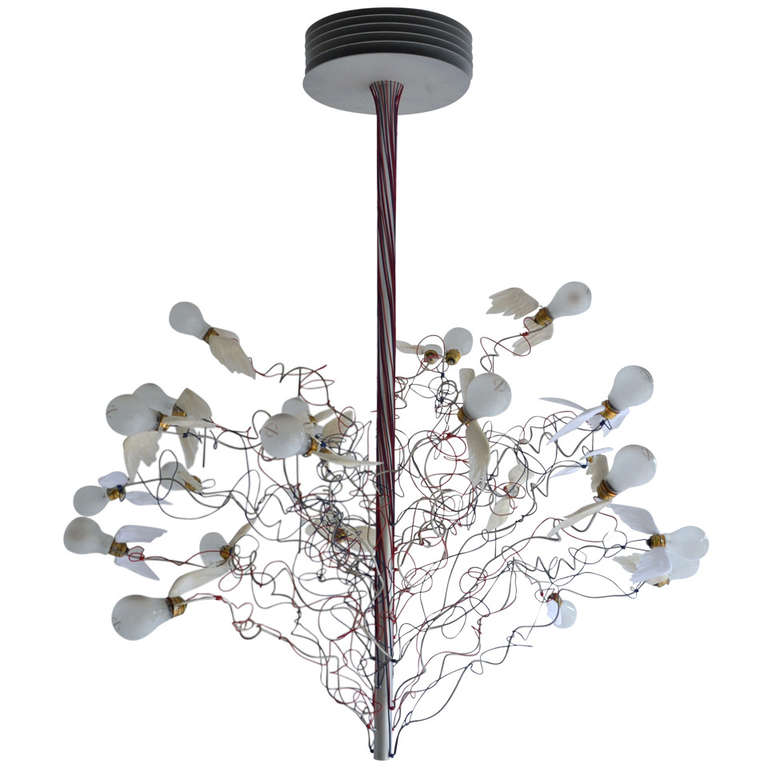 birds birds birds chandelier by ingo maurer for sale at 1stdibs. Black Bedroom Furniture Sets. Home Design Ideas