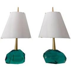 """Unique Pair of Table Lamps by Roberto Giulio Rida """"Diamantone"""""""
