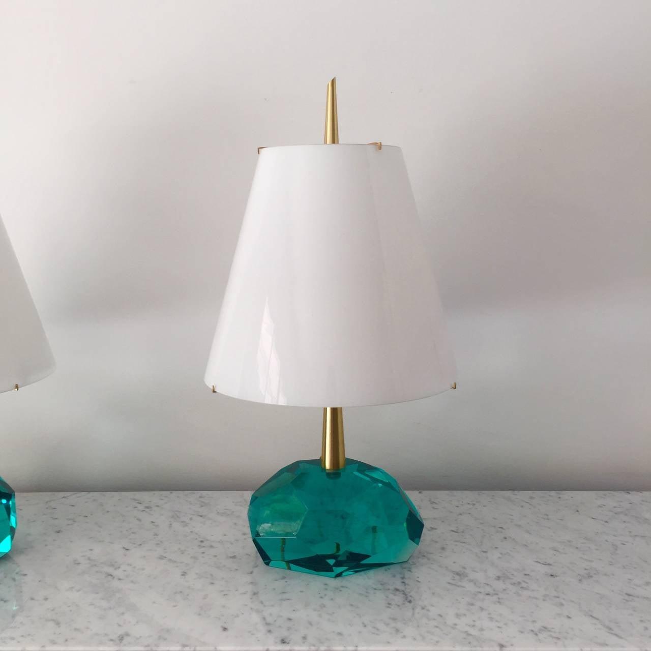 unique pair of table lamps by roberto giulio rida diamantone for. Black Bedroom Furniture Sets. Home Design Ideas