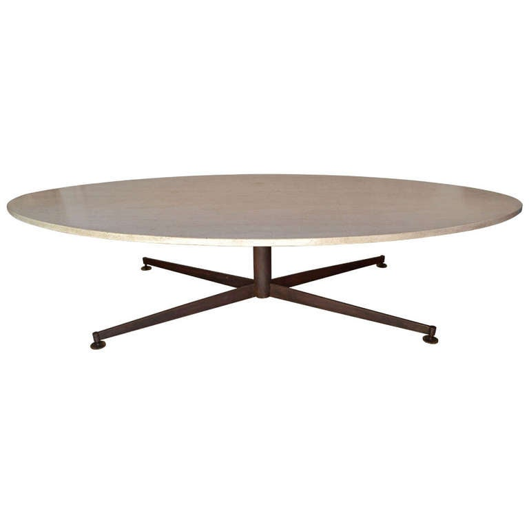Pickford Coffee Table Bronze: Arflex Coffee Table Bronze And Travertin Stone At 1stdibs