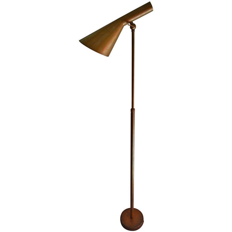 arne jacobsen style floor lamp in brass at 1stdibs. Black Bedroom Furniture Sets. Home Design Ideas