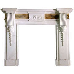 Statuary Marble English Mantel with Bookmatched Siena Frieze Panels