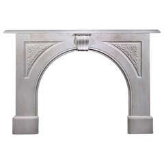 Early Victorian Carrara Marble Carved Arched Victorian Mantel, 'VIC-P47'