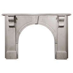 Arched Carrara Marble Mantel with Scroll Corbel Supports 'VIC-T24'