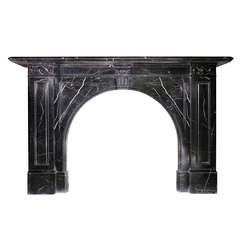 Early Victorian Nero Marquina Marble Mantel, circa 1860