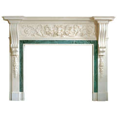 Statuary Marble Palladian Mantel with Foliate & Sphinx Frieze