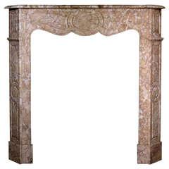 19th Century French Pompadour Style Crema Valencia Marble Mantel, 'FR-ZC57'