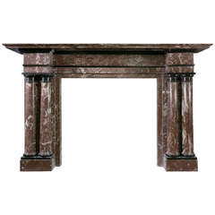 19th Century Breche Marble Mantel with Polished Slate Mouldings 'VIC-S75'