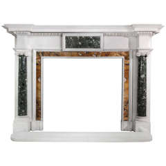 19th Century Georgian Style Mantel in Italian Statuario Marble