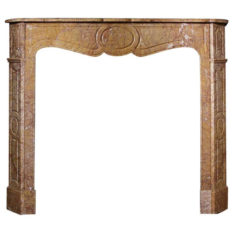 Louis XV Pompadour Style Crema Valencia Marble Mantel