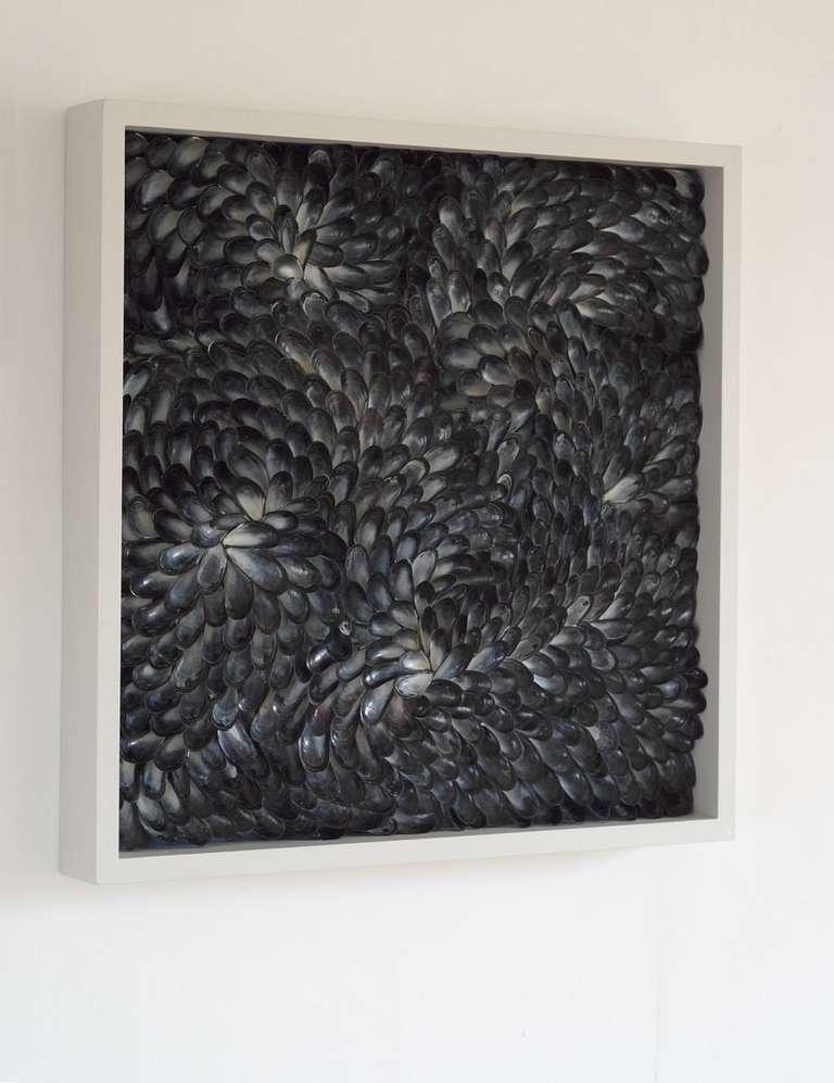Original art work in mussel shells, circa 2013. Temporarily on exhibit.