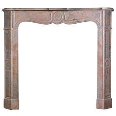 Louis XV Pompadour Style French Rouge Royale Marble Mantel 'FR-Z84'