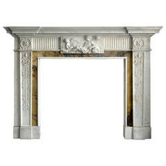 19th Century Georgian Mantel with Sienna Ingrounds and Carved Relief