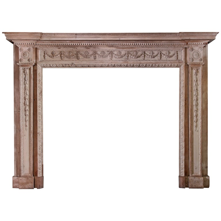 18th Century Neoclassical Pine Mantel For Sale