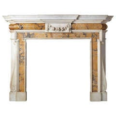 Palladian Style Statuary and Siena Marble Mantel