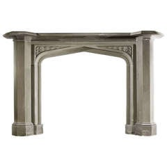 Grit Stone Mantel with Carved Spandrels
