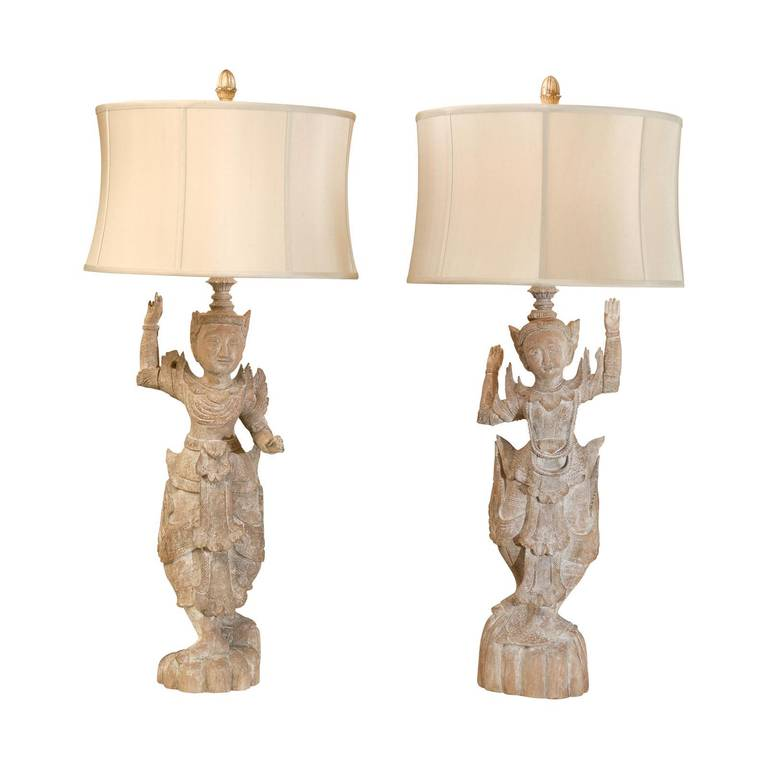 A Spectacular Pair of Monumental Male and Female Asian Lamps 1