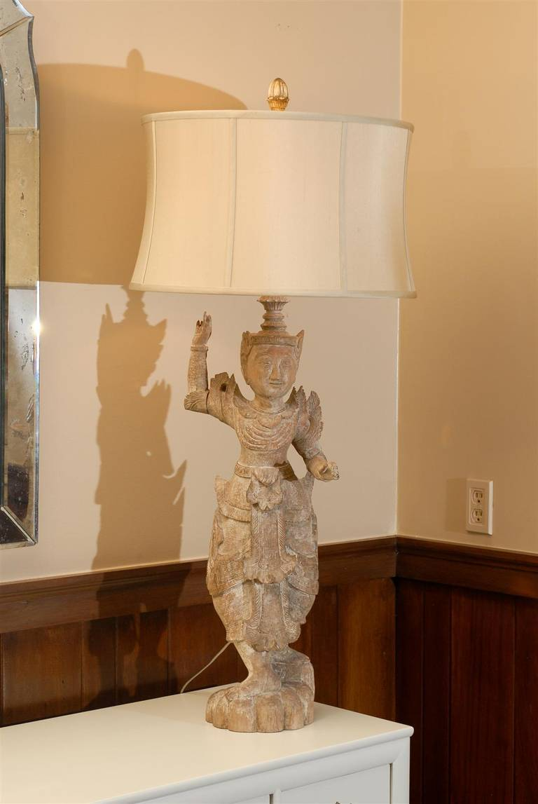 A Spectacular Pair of Monumental Male and Female Asian Lamps 7