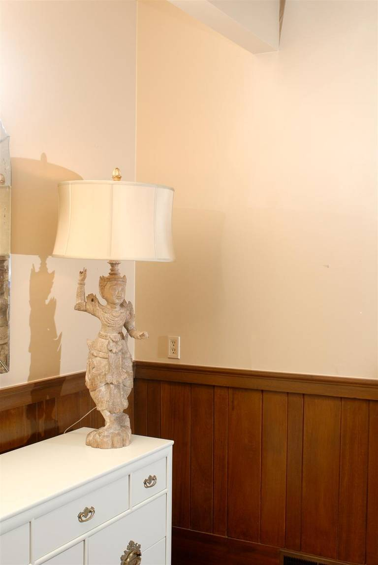 A Spectacular Pair of Monumental Male and Female Asian Lamps 8