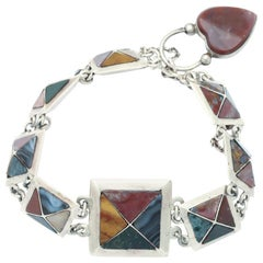 Pyramids of Agate in a Silver Scottish Bracelet