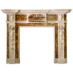 Mid-18th Century Statuary Marble Mantel with Carved Foliate Pilasters (GEO-S77)