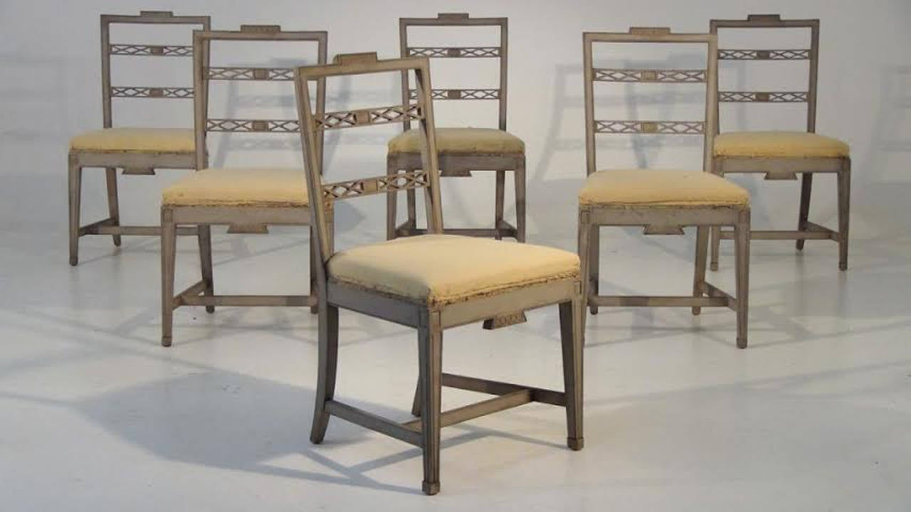 Set Of 6 Swedish Gustavian Style Dining Chairs At 1stdibs