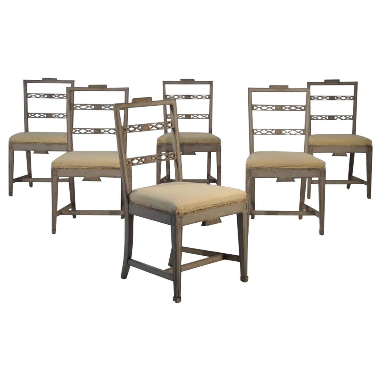 Set of 6 swedish gustavian style dining chairs at 1stdibs for Swedish style dining chairs
