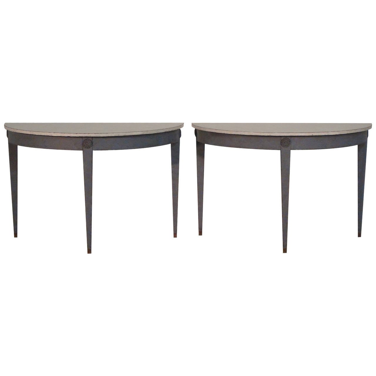 19th Century Pair of Swedish Demilune Tables in the Gustavian Style 1