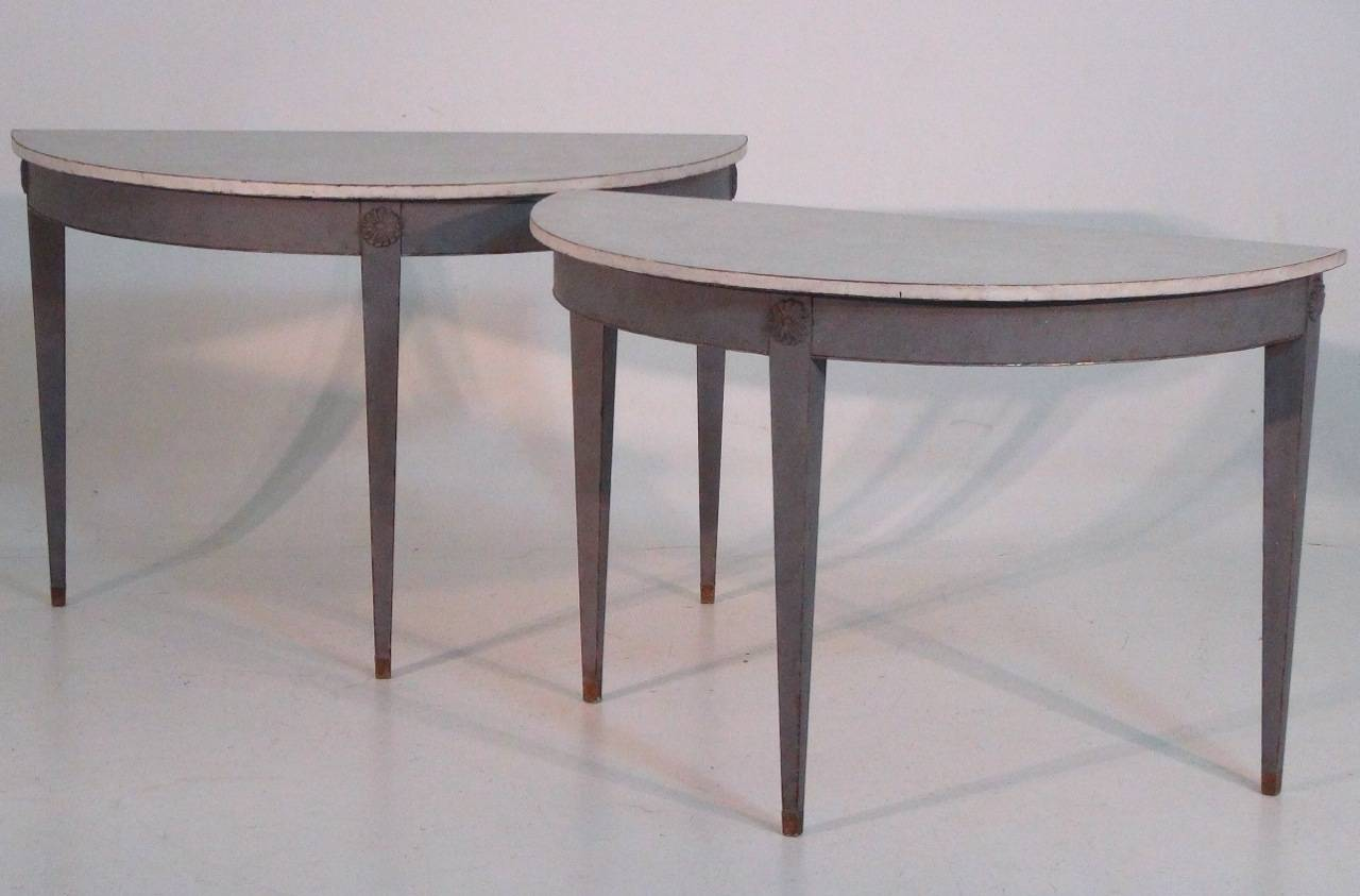 19th Century Pair Of Swedish Demilune Tables In The Gustavian Style 3