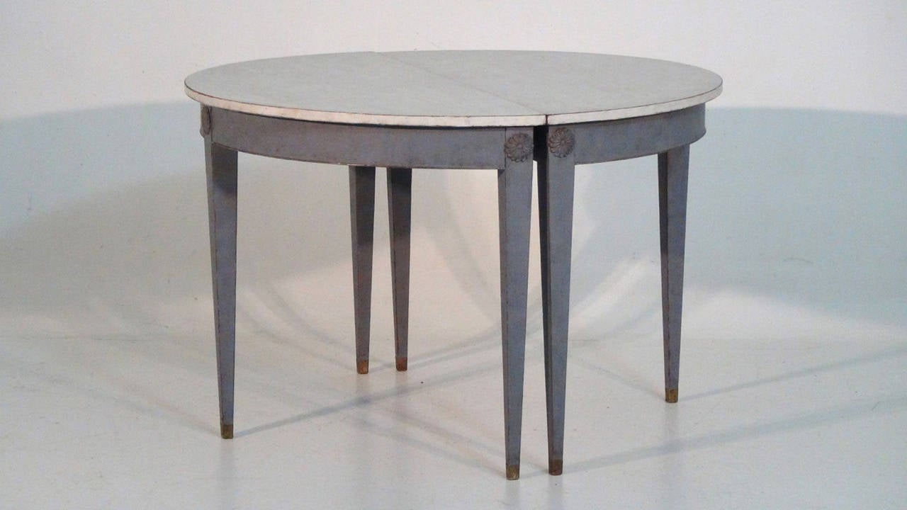 19th Century Pair of Swedish Demilune Tables in the Gustavian Style 2