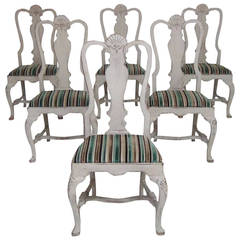 Set of Six Swedish Rococo Style Chairs