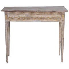 Period Gustavian Console Table with Drawer in Original Paint and Giltwood
