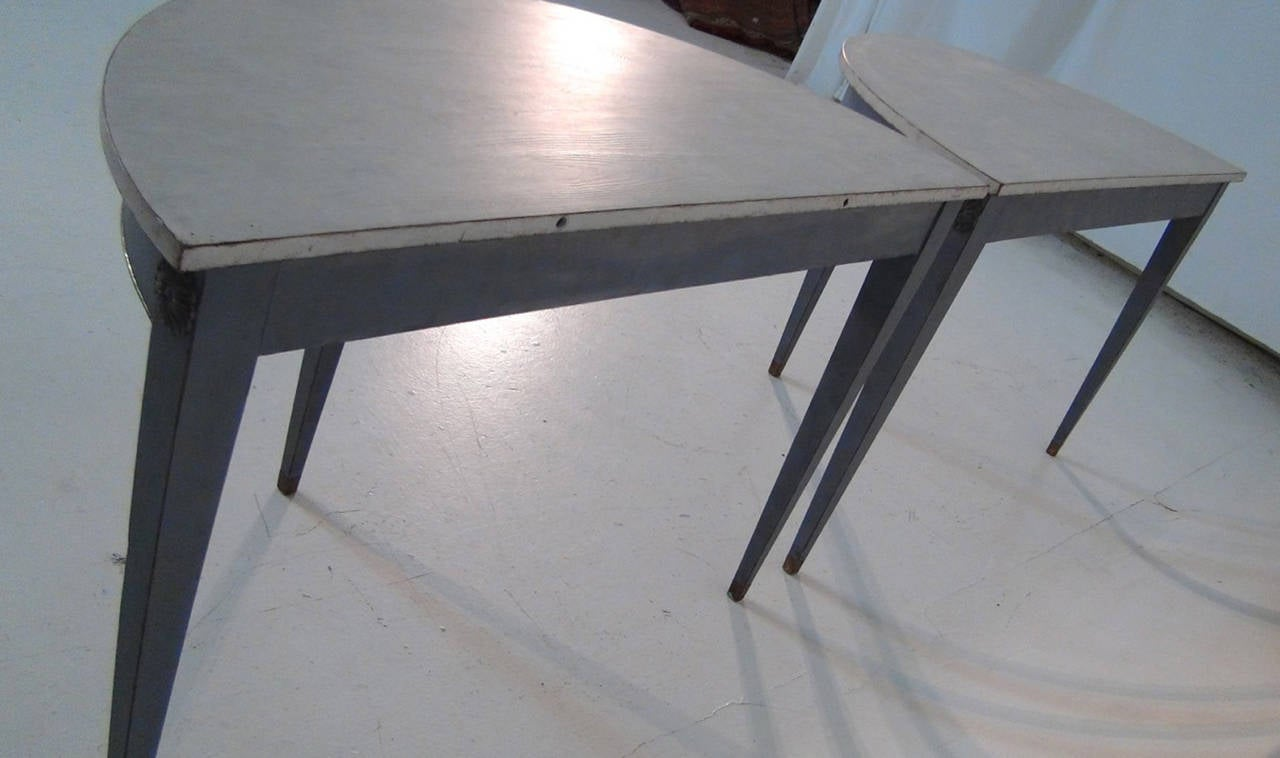 19th Century Pair of Swedish Demilune Tables in the Gustavian Style 10