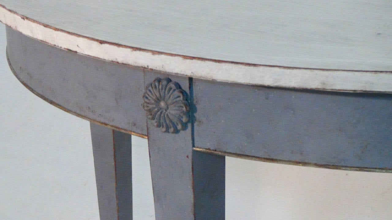 19th Century Pair of Swedish Demilune Tables in the Gustavian Style 8