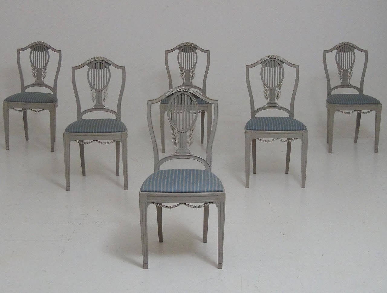 Set of six swedish dining chairs in the gustavian style at for Swedish style dining chairs