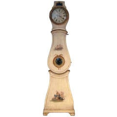18th Century Swedish Rococo Period Tall Case Mora Clock in Original Paint