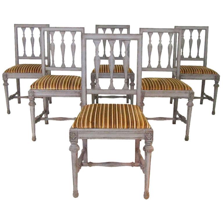 Set Of Six Swedish Gustavian Style Dining Chairs 1