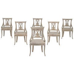Set of Six Danish Armchairs in the Empire Style