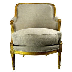 19th Century French Louis XVI Style Barrel Back Bergere Chair in Parcel Gilt